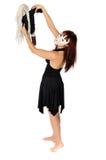 Frau in einer Schablone mit einer Puppe Lizenzfreies Stockfoto