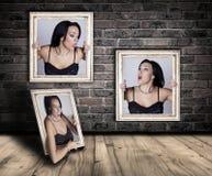 Frau eingeschlossen in den Rahmen Stockbilder