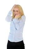 Frau erschrockenes Abdeckungsgesicht Stockbilder