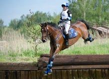 Frau eventer auf Pferd ist Tropfenzaun im Wassersprung Lizenzfreie Stockfotografie