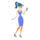 Frau Fashionista sieht sich, Versuchjuwelen widerzuspiegeln Lizenzfreies Stockbild