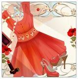 Frau festlich, Handtasche, Lippenstift und Stöckelschuhe Vintag vektor abbildung