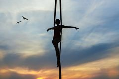Frau fliegt wie ein Vogel Stockfoto