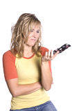 Frau frustriert mit Text Stockfotos