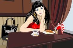 Frau am Gaststättetisch lizenzfreie abbildung