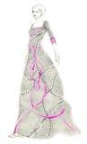Frau in gedrucktem Kleid Lizenzfreies Stockfoto