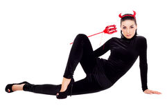 Frau gekleidet als Kobold lizenzfreie stockfotos