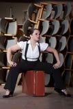 Frau gekleidet als Mann Lizenzfreie Stockbilder