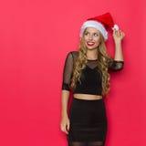 Frau genießt Weihnachten Lizenzfreie Stockfotografie