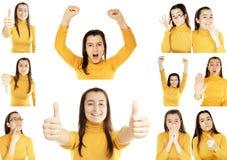Frau gestikuliert Collage Lizenzfreies Stockfoto