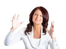 Frau gestört mit Situation Stockbild