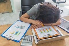 Frau glauben müde erschöpft, frustriert und stockfoto