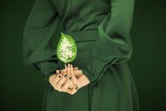 Frau in Grün 50 ` s Kleid übergibt das Halten einiger tropischer Blätter Lizenzfreies Stockfoto