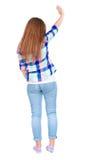 Frau grüßt glücklich jemand Mädchen-Wellenartig bewegen Stockbild