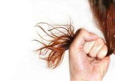 Frau hält das Haar in einer Faust an Lizenzfreies Stockfoto