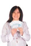 Frau hält Rubel an Stockfoto