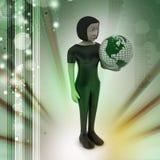 Frau hält Weltkugel Lizenzfreies Stockfoto