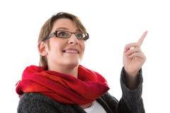 Frau hat Idee - die Frau, die auf weißem Hintergrund lokalisiert wird Stockfoto