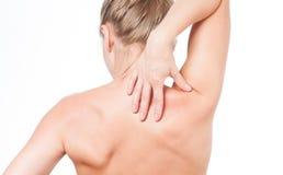 Frau hat Nackenschmerzen Akt schultert Mädchen von der Rückseite Stockfoto