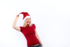 Frau hat Spaß auf Weihnachten Stockfoto
