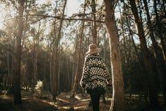 Frau in ihr einen Spaziergang mitten in einem Kieferwald zurück machend Lizenzfreies Stockbild