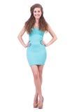 Frau im attraktiven Kleid stockbild