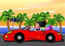 Frau im Auto Stockbild