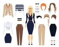 Frau im Büro kleidet, stilvolles einheitliches Design Satz Gläser, Frisuren und weibliche Kleidung Flache Vektorillustration Lizenzfreies Stockbild