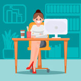 Frau im Büro am Tisch Flache Illustration des Vektors Stockfotografie