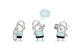 Frau im Büro-Zeichensatz Lizenzfreie Stockbilder