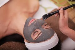 Frau im Badekurort-Salon Frau im Badekurortsalon Gesichtsmaske Gesichts-Clay Mask behandlung stockbilder