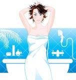 Frau im Badezimmer stock abbildung