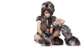 Frau im barbarischen Kostüm Stockbilder