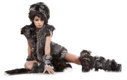 Frau im barbarischen Kostüm Stockbild