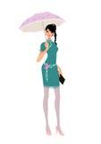 Frau im Blau, das einen purpurroten Regenschirm anhält Stockbilder