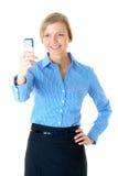 Frau im blauen Hemd nimmt das Foto, getrennt Lizenzfreie Stockfotografie