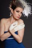 Frau im blauen Kleid Lizenzfreie Stockfotos