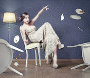 Frau im Café Stockbilder