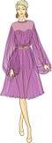 Frau im Chiffon- Kleid Lizenzfreies Stockfoto