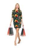 Frau im dunkelgrünen Blumenkleid lokalisiert auf Weiß Lizenzfreie Stockfotografie