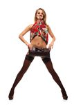 Frau im Farbenkleid Stockbilder