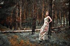Frau im feenhaften Wald Stockbild
