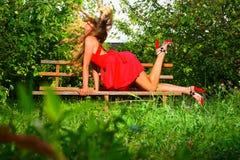 Frau im Garten des Apfels Lizenzfreies Stockbild