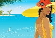 Frau im gelben Hut lizenzfreie abbildung