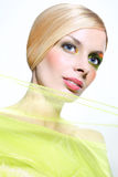 Frau im Grün Stockfoto