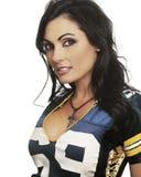Frau im Hemd des amerikanischen Fußballs Stockfoto