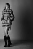 Frau im herbstlichen Mantel stockfotos