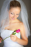 Frau im Hochzeitskleid und stieg Lizenzfreies Stockbild