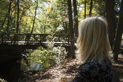 Frau im Holz neben Brücke Stockbilder