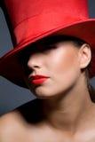 Frau im Hut stockbild